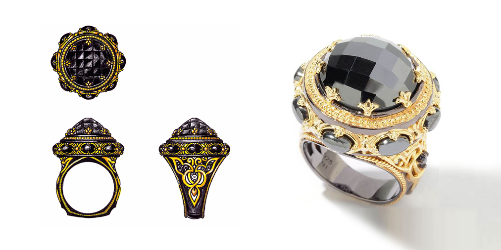 This ring is part of the Gems en Vogue II collection that was designed by Olga Tkhor for the ShopNBC.  It is crafted from sterling silver and palladium with accents of 18K yellow vermeil and black rhodium.  The ring features Hematite and Sapphires.  The design was inspired by the Byzantium Era and art.  This design is copyrighted and is property of Nathan Hennick & Co.